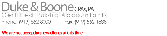 Sponsor Duke & Boone, CPA's, PA